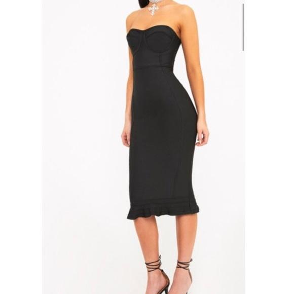 2199bf5c6e8 Roxina Black Bandage Frill Hem Midi Dress. M 5ad26df4331627bd7767085d